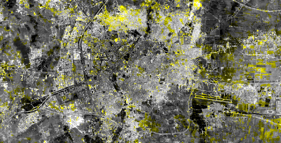 Mapping pixel value change using data from the Landsat Satellite