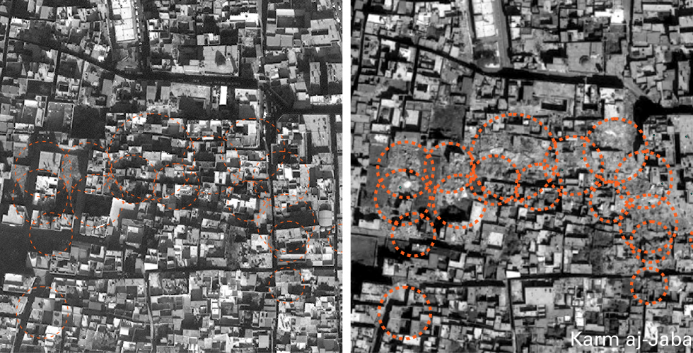 Damage in the Karm aj-Jabal neighborhood identified by Human Rights Watch