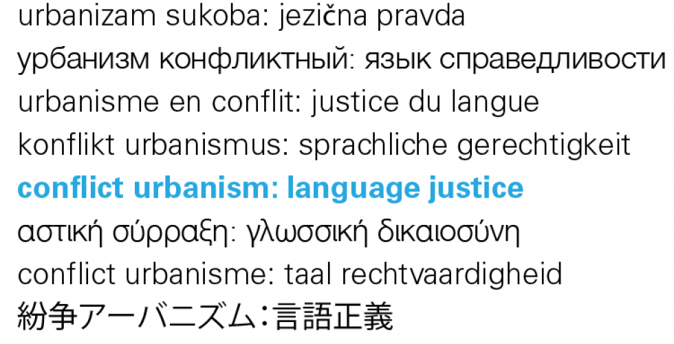 'Conflict Urbanism: Language Justice' Lectures